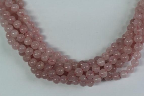 "Rose Quartz 8mm smooth round beads 16"" length full strand"