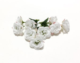 Seafoam green satin rose picks 15 mini roses artificial 9 white mini roses small flowers artificial flowers silk flowers flower crown mllinery wedding corsage mightylinksfo