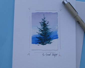 Christmas card, handmade original watercolor notecard