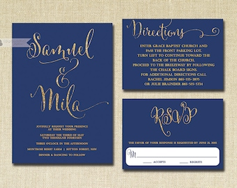 Navy & Gold Glitter Wedding Invitation RSVP Info Card 3 Piece Suite Modern Deco Chic Vintage Glam Sparkle Navy Blue DIY or Printed - Mila