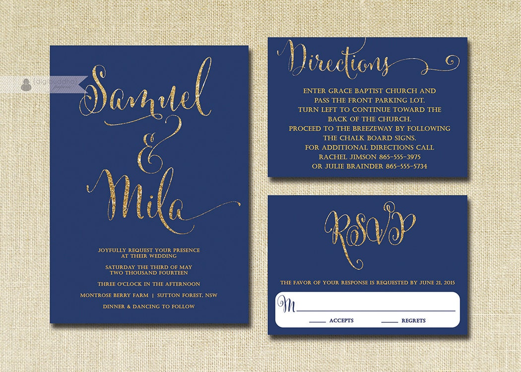 Navy And Gold Wedding Invitations: Navy & Gold Glitter Wedding Invitation RSVP Info Card 3 Piece