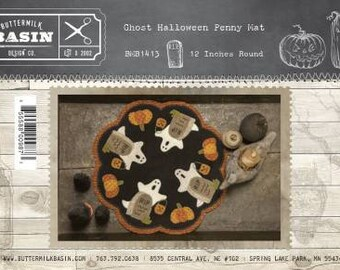 "Halloween Ghost Wool Applique Pattern 12"" from Buttermilk Basin - Penny Rug or Table Mat"