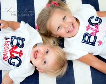 Sibling Shirts- big brother, Big Sister, Little brother, little sister- anchors, nautical theme