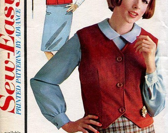 FREE US SHIP Vintage Retro 1960's 60's Sewing Pattern Advance 3290 Waistcoat Weskit Vest Blouse Slim Skirt  Bust 32 uncut