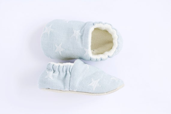 Baby Blue star moccs pre walkers and toddlers