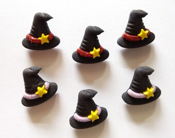 10 pcs Cute witch hat shank button mix color