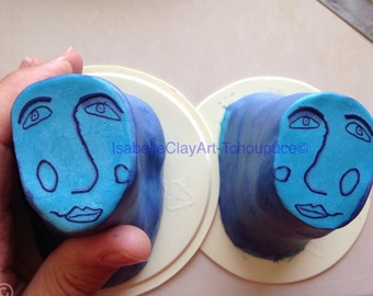 """Blue face cane polymer clay,  raw cane unbaked, 3/4"""" diameter, handmade, ready to use"""