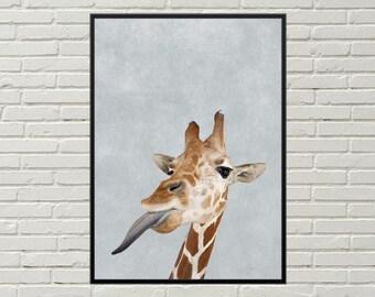 GIRAFFE wall art, printable art, giraffe print, digital giraffe poster, nursery wall decor, african animal funny animal art, nursery print