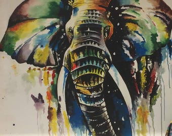 Coloured elephant,African painting,African art,Acrylics on canvas painting,Hand painting