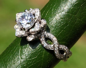 EVER BLOOMING LOVE - 1.75 ct Infinity Diamond Engagement Flower Ring - Gorgeous Unique Rose - Lotus - Beautiful Petra Patented Design - fL06