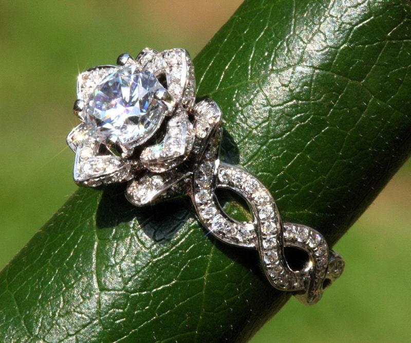 Ever Blooming Love Diamond Engagement Rose Lotus Flower Ring