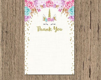 Unicorn Thank you card, INSTANT DOWNLOAD, Unicorn Thank you Note, unicorn birthday thank you card, unicorn horn printable thank you card