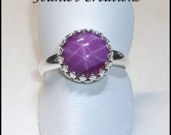 Sterling Silver Ring with 10mm Ruby Star Sapphire