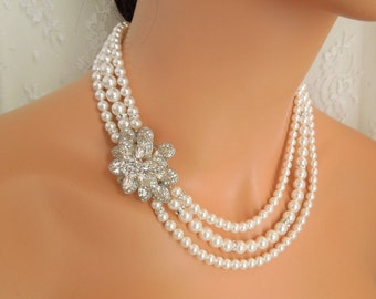 Pearl Necklace Pearl and Rhinestone Necklace Bridal Rhinestone Necklace Ivory swarovski Pearls necklace Statement Bridal Necklace YESENIA