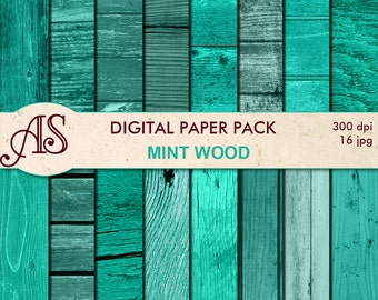 Digital Mint Wood Paper Pack, 16 printable Digital Scrapbooking papers, Wooden Collage, Decoupage papers, Instant Download, set 158