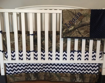 5 pc CAMO & Navy blue CHEVRON crib set made with realtree fabric and navy blue minky dots blanket with free monogram