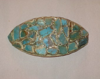 Barrette of Turquoise Chips Mosaic with Silver