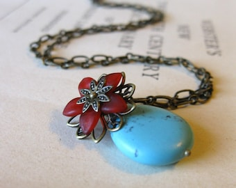 The Gypsy Necklace Turquoise and brass red flower