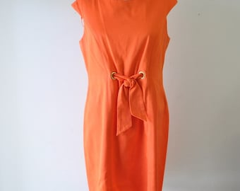 1970s Kim Rogers Signature vintage orange dress--size 10