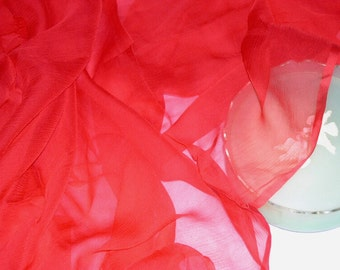 "2.5 YD Piece Vintage 100% Silk Chiffon 40"" w Sheer Red Fabric Made in France"