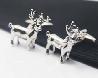 Elk Cuff Links, Silver Accessories, Christmas Theme, Novelty Accessories, Gift For Man