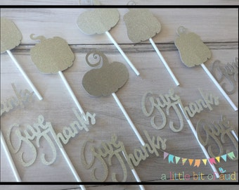 Thanksgiving Cupcake Toppers, Fall Table Decorations, Thanksgiving Table Decorations, Thanksgiving Cake Decorations, Fall Cupcake Toppers