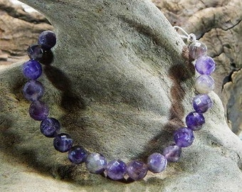 """Purple amethyst bracelet 8.75"""" long toggle clasp semiprecious stone jewelry February birthstone packaged in a colorful gift bag 10823"""