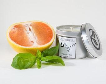Grapefruit & Basil Scented Candle Tin
