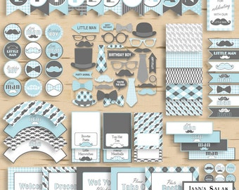 Little Man Birthday PRINTABLE Party Package Decorations Blue and Grey Diy INSTANT DOWNLOAD Pdf LMB01