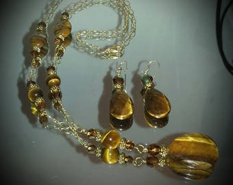 TIgerseye on Gold Chain Pendant Y Necklace