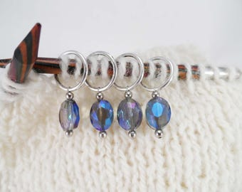 Iridescent Blue Glass Oval Stitch Markers Set of 4
