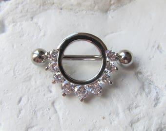 Nipple Prung Gem Half Circle Nipple Shield Ring Barbell..14g..14mm(Single one)