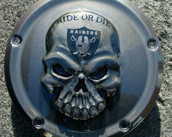 Harley Davidson derby clutch cover with 3D skull with Raiders and Ride or Die