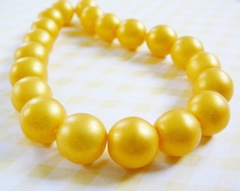 Vintage Glass Bead, Czech, Sunset Matte Yellow Beads 10mm jewelry supplies beading supply