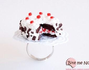 Food Jewelry - Black Forest Cake Ring, Black Forest Gateau, Miniature Food Ring, Food Jewellery, Mini Food Jewelry, Doll Food, Food Charm