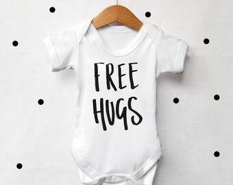 Free Hugs Monochrome Baby Vest