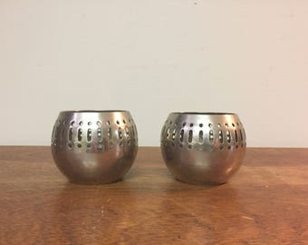 Two Silver Line & Dot Pierced Solid Brass Votives, Made in India