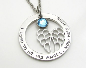 Personalized Memorial Necklace, Personalized Necklace, Angel Wing Necklace, Bereavement Jewelry, Remembrance Necklace, Personalized Jewelry