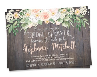 DIY Bridal Shower Invitation, Rustic Bridal Shower Invite, Rustic Bridal Shower Invitation Printable, Rustic Wedding, Wedding Shower