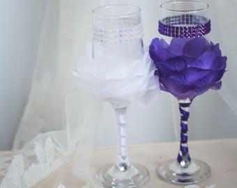 Wedding champagne glasses,bridesmaids glasses
