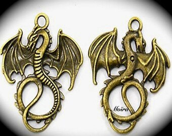 8 medieval 35x28mm bronze flying dragon charms