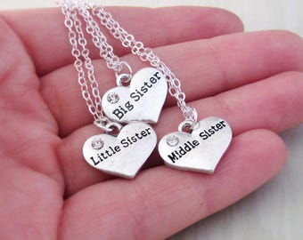 3 Sisters Necklaces - Big Sister, Middle Sister, Little Sister - Matching Heart Necklaces - Triplet Gifts