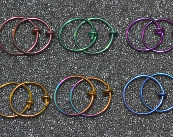 "Niobium 1/2"" (12 mm) Hoop Earrings - Choose a color! 20g. for nose, cartilage, rook, septum and lobes, nickel free and hypoallergenic."