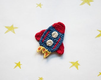 Instant Download - PDF Crochet Pattern - Rocket Applique - Text instructions and SYMBOL CHART instructions