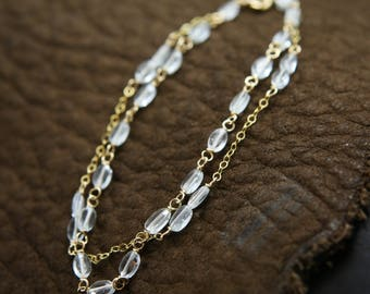 Aquamarine Gold Double Strand Gemstone Bracelet - 14k Gold Filled Wire Wrapped - Joy, Peace, Communication, Healing, March Birthstone