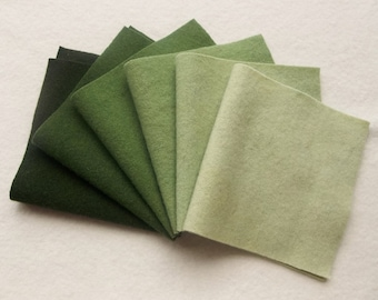 """Hand Dyed Felted Wool Gradation, CYPRESS, Value Gradient in Pine and Celedon Greens, 6 pcs. 6.5"""" x 16"""" Each"""