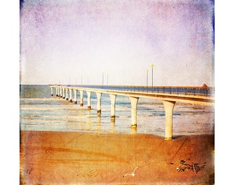 Art Print: Beach & Pier photo. Water, print, sand, ocean, waves, bird, fine art, color, summer, art