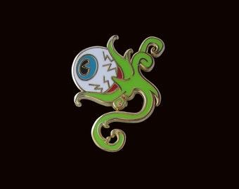 Eyeball Plant Enamel Pin (Green/Gold)- Cloisonné, Badge, Tentacle, brooch, Creepy, Little Shop of Horrors, Gothic, Labyrinth eye, Monster