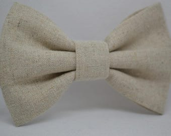 Natural Linen bow tie - Men's bow tie - Child bow tie - Baby bow tie -linen - Wedding - Rustic - Gift for him - Gift for men