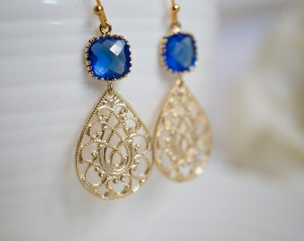 Cobalt Blue and Gold Earrings Blue Glass with Oriental Teardrop Filigree Dangle Earrings. Bridal Wedding. Bridesmaid Maid of Honor Earrings